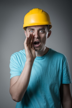 worker in helmet cry photo