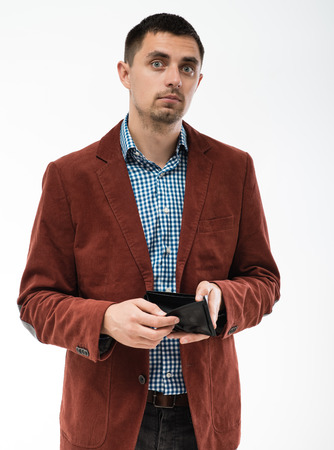 man holding an empty wallet photo