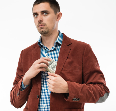 Funkiness man hides money in your pocket photo