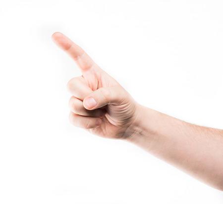 dedo apuntando: tocar la pantalla virtual mano