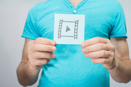 reproduce: Picture icon to reproduce in his hand Stock Photo