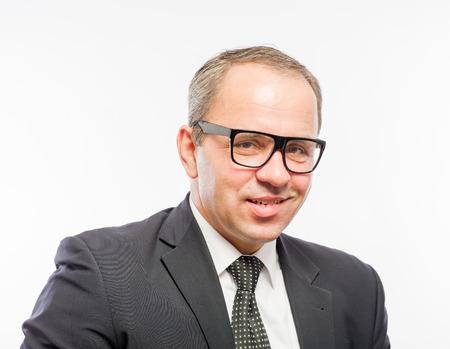 smug: Portrait of mid adult man in glasses