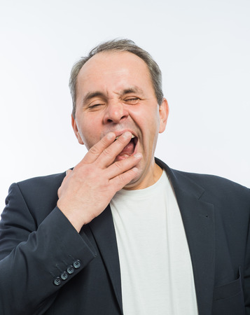 Businessman yawn boring photo