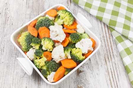 macrobiotic: Vegetables. Broccoli, cauliflower and carrots. Raw food. diet. Vegetarian. Macrobiotic. Copy space composition