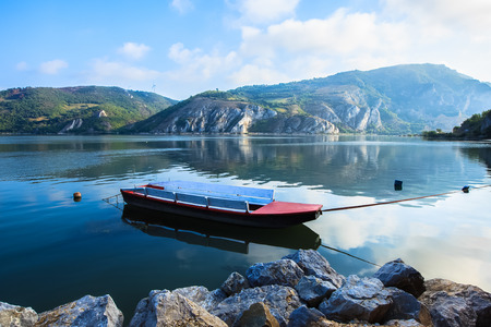 River Danube entry in National Park Djerdap in Serbia. Foggy morning on the Danube. Djerdap National Park and the river Danube. Golubac. Danube is the widest in its entire course in Golubac, photo