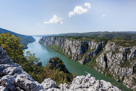 iron gate: Danube gorge, Danube in Djerdap National park, Serbia. Danube gorge iron gate on the Serbian-Romanian border