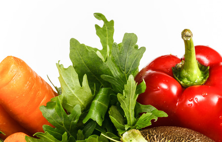 Vegetables. Fresh vegetables on the white background with space for text photo
