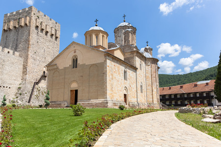 Manasija Monastery. XV century built by Despot Stefan Lazarevic (Prince Stefan): Church of Holy Trinity, fortification walls . Orthodox Serbian monastery near Despotovac city, Serbia