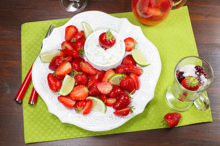 recipe decorated: Macerated strawberries with mascarpone whipped cream