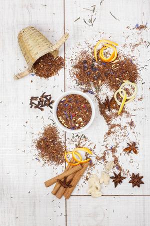 Rooibos tea. Dried Rooibos tea and ingredients photo