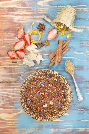 Rooibos Tea. Organic red and green rooibos tea leaves and ingredients