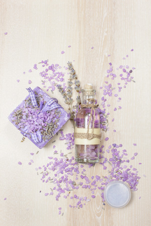 Lavender Beauty care. Various lavender  beauty products on the wooden board. 免版税图像