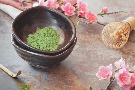 Matcha green tea. Still life with Japanese matcha accessories. Japanese Tea Ceremony. Preparation of powdered green tea. Macro selective focus. Natural light Imagens