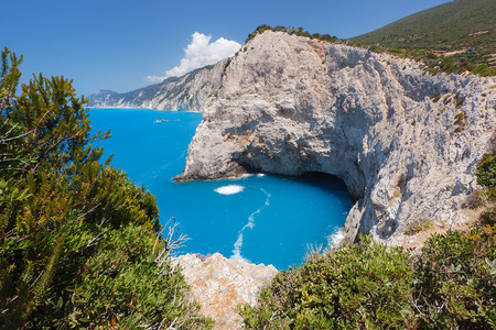 other side of: Beautiful view of Lefkadas island. The other side of Porto Katsiki beach Stock Photo