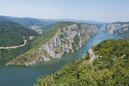 national border: Danube gorge Iron Gate. Danube in Djerdap National park, Serbia. Danube gorge iron gate on the Serbian-Romanian border. Landscape in the Danube Gorges seen from the Serbian side Stock Photo