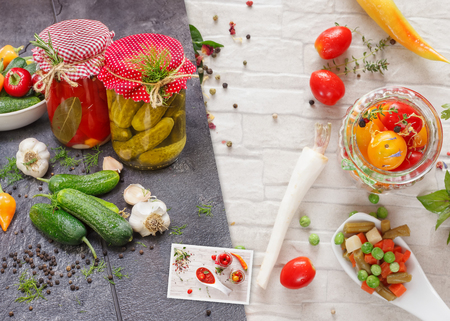 food preservation: Home Food Preservation Collage. Collage made of three photos of various types of  vegetables. Vegetable being prepared for preserving