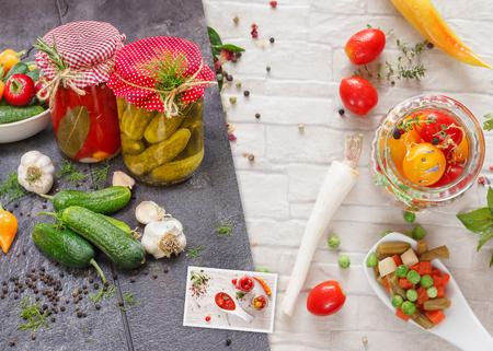 conservacion alimentos: Inicio conservaci�n de alimentos Collage. Collage hecho de tres fotos de diferentes tipos de verduras. Vegetal est� preparando para la conservaci�n Foto de archivo
