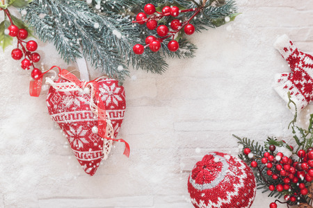 woolly: Woolly Christmas Ornaments Decoration . Christmas ornaments with copy space