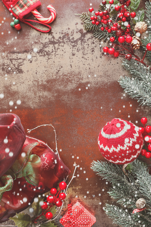 decoration objects: Christmas background with Christmas decorations on rustic background. Vintage style with blank space