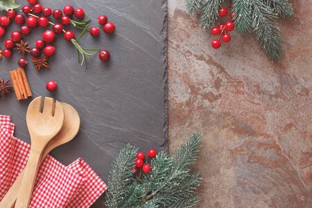 gourmet kitchen: Baking with cranberries. Baking concept background with utensils for Christmas cake. Top view, vintage style, blank space