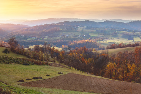 vividly: Beautiful view of countryside landscape in Serbia