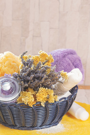 dayspa: Natural spa treatment with lavender and helichrysum Spa still life of various natural beauty care products, lavender and helichrysum dry bouquet in spa basket. Macro, selective focus and blank spaceimmortelle.
