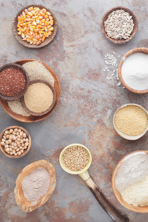Flour and grains. An arrangement of various gluten free grains and flour.  Top view, blank space