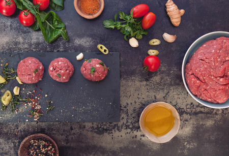 prepare: Raw meat balls and meat ball ingredients