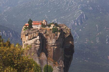 kalabaka: Monastery of the Holy Trinity, in summer morning,  Meteora, Greece.