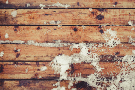 floorboard: Snow on floorboard during winter. Top view, vintage toned image, copy space Stock Photo
