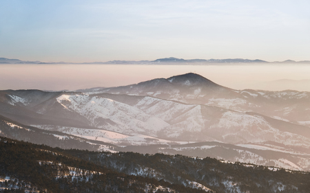 Winter landscape at sunset. View from mountain Maljen, Divcibare