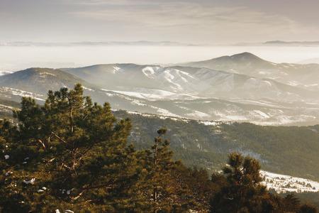 Winter landscape. View from mountain Maljen, Divcibare, Serbia