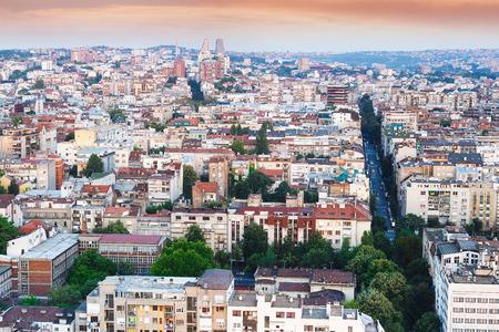 City skyline Belgrade, Serbia, aerial view . Architectural diversity in old  Belgrade Stock Photo