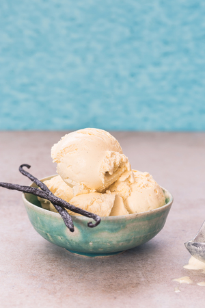 Vanilla bean ice cream  in a ceramic rustic  bowl. Selective focus, blank space Imagens