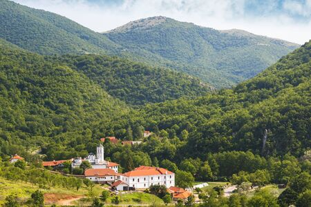 Monastery of Venerable Prohor of Pcinja , one of the oldest Serbian monasteries, 11th century, aerial view Stock fotó