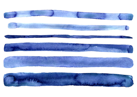 Set of hand painted indigo blue watercolor simple stripes. Isolated on white background. Navy blue modern stripe. Hand drawn stripes. Design for decor, decoration. Cute clip art artistic collection.