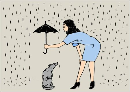This picture shows a woman with umbrella and a dog