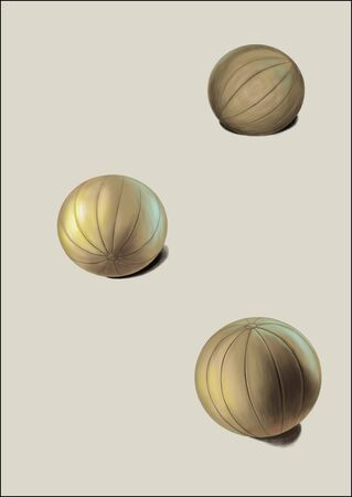 springy: This picture shows three balls under different light