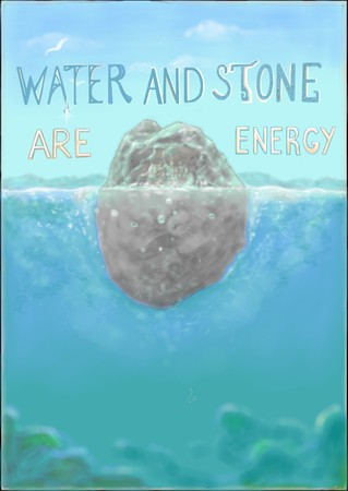 The picture about energy, water and stone
