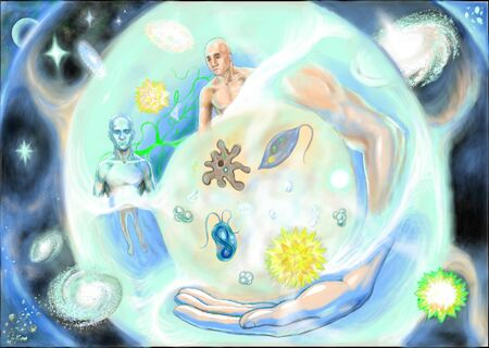 About microbes, people and universe 스톡 콘텐츠