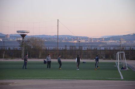 The guys play football