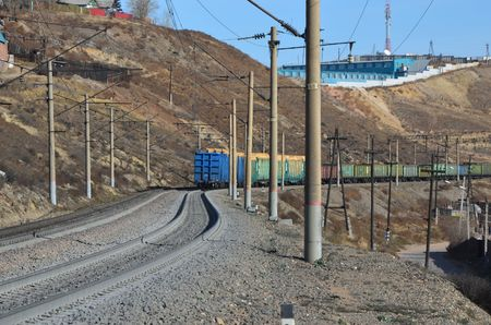 This picture shows an outgoing train tail Stockfoto