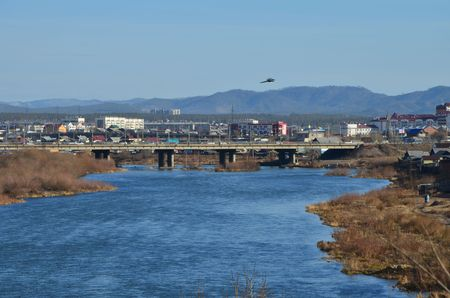 This picture shows a river turn with bridge on background zoomed (with bird) Stockfoto