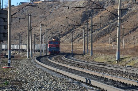 This picture shows a coming electric train