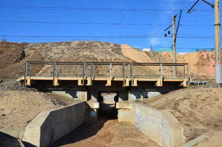 This picture shows a small railroad bridge Stockfoto