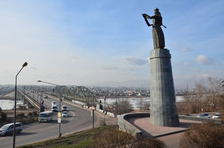 This picture shows a monument of Buryatia Stockfoto