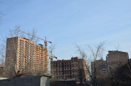 This picture shows some buildings under construction