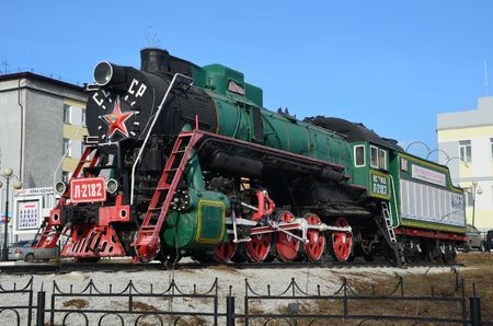 This picture shows an old steam locomotive