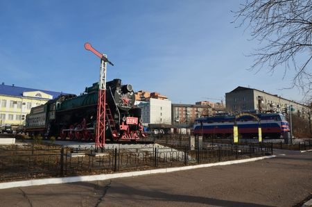 This picture shows old and modern locomotives Stockfoto