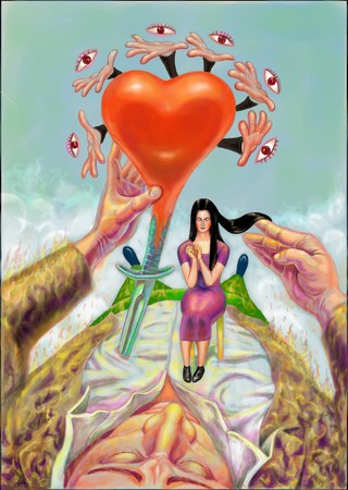 Heart girl and man Stockfoto